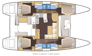 Lagoon 450 a four double cabin layout