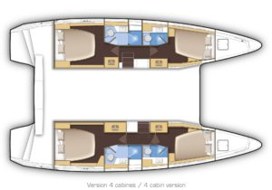 Lagoon 42 a four double cabin layout